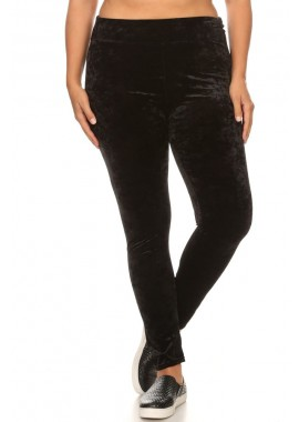 Wholesale Womens Plus Size Crushed Velvet Leggings