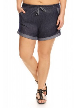 Wholesale Womens Plus Size Two Tone Stretch Denim Shorts