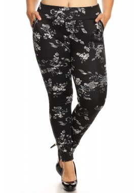 Wholesale Womens Plus Size Printed Treggings Skinny Pants With Zippers