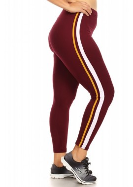 Wholesale Womens Plus Size Soft Brush Sports Leggings With Side Contrast Stripes