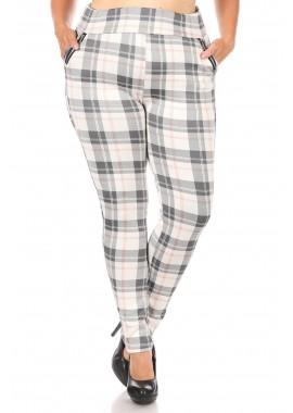 Wholesale Womens Plus Size Tregging Skinny Pants With Zipper Pocket Trim