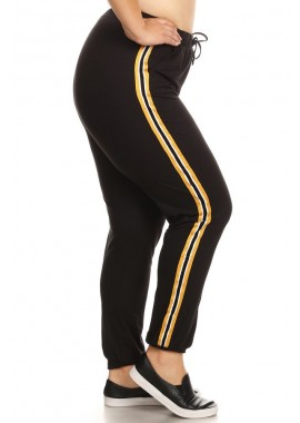Wholesale Womens Plus Size Joggers Sweatpants With Side Stripe Twill Tape