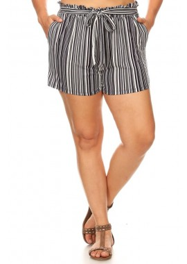 Wholesale Womens Plus Size Paperbag Shorts With Waist Tie Sash