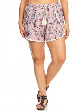 Wholesale Womens Plus Size Overlap Shorts With PomPom Trim