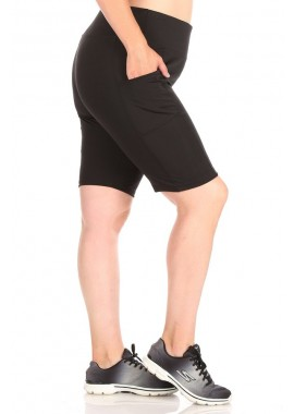 Wholesale Womens Plus Size High Waist Biker Shorts With Side Pockets