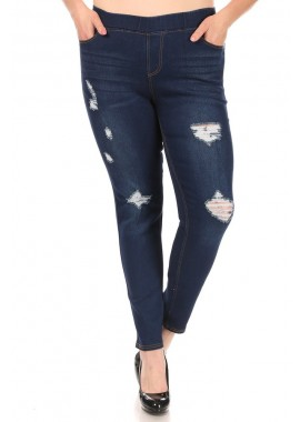 Wholesale Womens Plus Size Distressed Denim Jeggings
