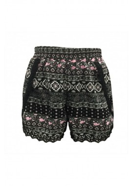 Wholesale Kids Overlap Shorts With Lace Trim