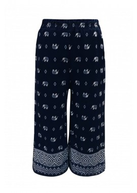Wholesale Big Kids Elephant Print Cropped Wide Leg Culottes Pants