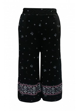 Wholesale Big Kids Elephant Border Print Cropped Wide Leg Culottes Pants