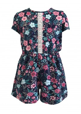 Wholesale Kids Soft Brushed Short Sleeves Rompers With Front Crochet Lace Panel Detail