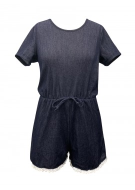 Wholesale Big Kids Short Sleeves Denim Rompers With Pompom Trim
