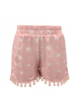 Wholesale Big Kids Soft Brushed Smocking Waist Shorts With Tassel Trim