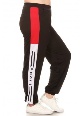 Wholesale Womens Plus Size Sports Joggers Sweatpants With Side Wording