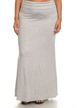 Wholesale Made in USA Womens Plus Size Basic Solid Color Maxi Skirt