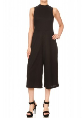Wholesale Womens Knit Mock Neck Cropped Wide Leg Jumpsuits
