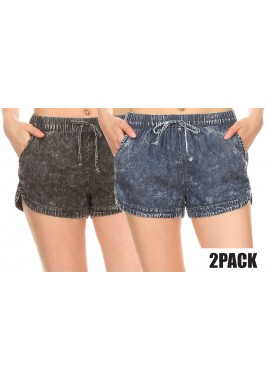 Wholesale Womens 2 Packs Bundle:Acid Wash Denim Shorts With Faux Tie