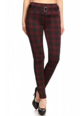 Wholesale Womens Treggings Skinny Pants With Self Belt And Pockets