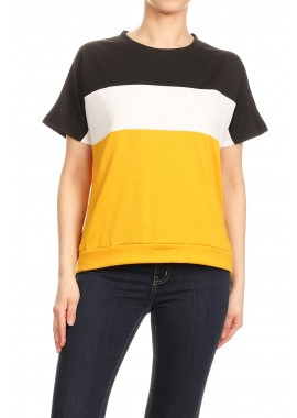 Wholesale Womens Color Block Thick Loose Fit T-Shirts Tops