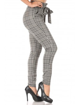 Wholesale Womens Double Knit Paperbag Waist Slim Fit Pants With Self Tie