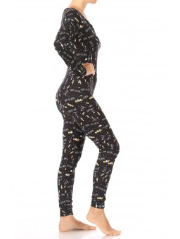 Wholesale Womens Fleece Lined Button Up Onesie Jumpsuit Pajamas With Matching Head Band