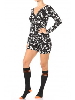 Wholesale Womens Fleece Lined Button Up Onesie Romper Pajamas With Tube Socks Gift Set