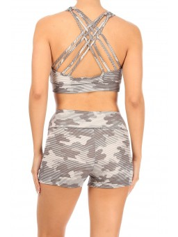 Wholesale Womens 2-Piece Sets Strappy Sports Bra Tops & High Rise Hot Shorts