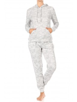 Wholesale Womens 2-Piece Sets Soft Brushed Fleece Lined Pull Over Hoodies + Matching High Waist Joggers Sweatpants