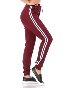 Wholesale Womens Stretch Knit Joggers Sweatpants with Side Stripes