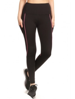Wholesale Womens High Waist Contrast Neon Binding Sports Leggings With Side Pockets & Mesh Panels