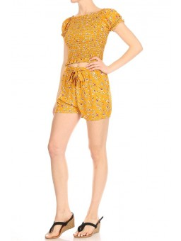 Wholesale Womens 2-Piece Set Puff Sleeves Smoked Tops & Matching Shorts With Waist Tie