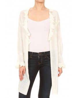 Wholesale Womens Open Front Long Body Cardigan Tops