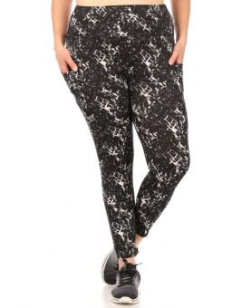 Wholesale Womens Plus Size High Waist Tummy Control Sports Leggings With Side Pockets