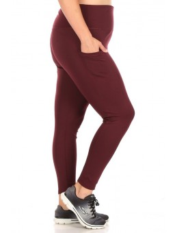 Wholesale Womens Plus Size Solid High Waist Tummy Control Sports Leggings With Side Pockets