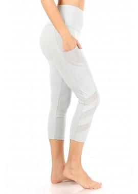 Wholesale Womens High Waist Tummy Control Sports Capri Leggings With Side Mesh Panels & Pockets