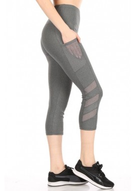Wholesale Womens High Waist Tummy Control Sports Capri Leggings With Side Mesh Panels & Pockets
