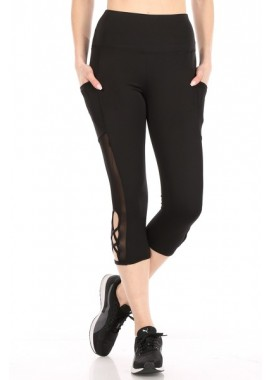 Wholesale Womens High Waist Tummy Control Sports Capri Leggings With Pockets And Cross Straps