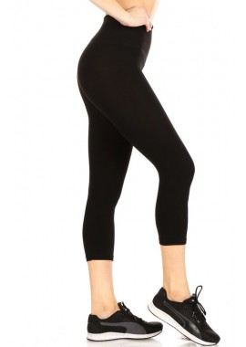 Wholesale Womens High Waist Tummy Control Basic Capris Yoga Leggings