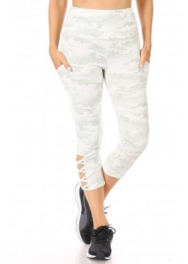 Wholesale Womens High Waist Tummy Control Sports Capri Leggings