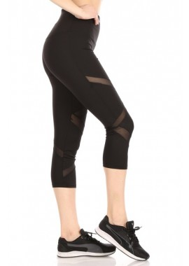 Wholesale Womens High Waist Tummy Control Sports Capri Leggings