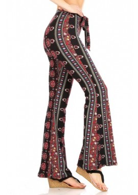 Wholesale Womens Soft Brushed Printed Flare Pants With Waist Tie