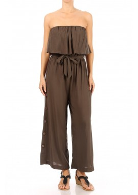 Wholesale Womens Strapless Wide Leg Jumpsuits With Flounce Overlay