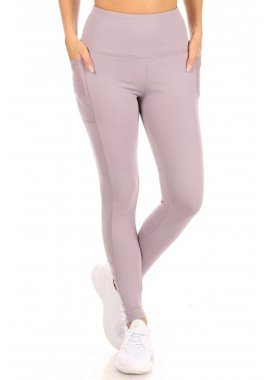 Wholesale Womens High Waist Tummy Control Sports Leggings With Side Pockets & Mesh Panels