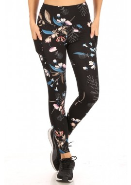 Wholesale Womens High Waist Tummy Control Sports Leggings With Side Phone Pockets