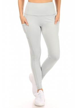 Wholesale Womens Solid High Waist Tummy Control Sports Leggings With Side Phone Pockets