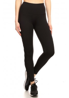 Wholesale Womens High Waist Tummy Control Sports Leggings With Mesh Panels & Criss Cross Straps
