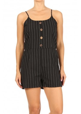 Wholesale Womens Spaghetti Strap Rompers With A Smocked Back & Front Buttons Detail