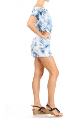 Wholesale Womens 2-Piece Set Off-Shoulder Crop Tops & Matching High Rise Smocked Waist Shorts