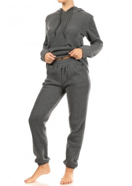 Wholesale Womens 2-Piece Set Fleece Lined French Terry Pull Over Hoodies + Matching High Waist Joggers Sweatpants