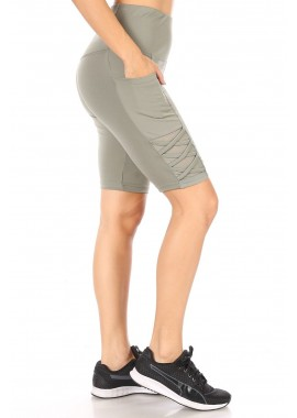 Wholesale Womens High Waist Tummy Control Biker Shorts With Side Pockets & Crossed Straps