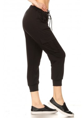 Wholesale Womens Double Face Cropped Cargo Joggers Sweatpants